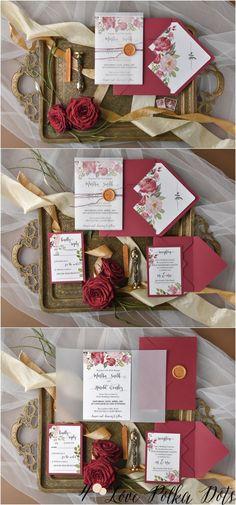 Burgundy deep red and blush  wedding invitation set from @4LOVEPolkaDots