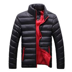 $29.89 Winter Casual Fashionable Thicken Warm Stand Collar Padded Jacket For Men - Newchic