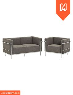 Charles Armchair and Loveseat Set of 2 in Oat (EEI-1306-OAT)  $1,460 + Free Shipping* + No sales tax http://www.likemodern.com/products/charles-armchair-and-loveseat-set-of-2-in-oat-eei-1306-oat.html#.U55dRihdBOM