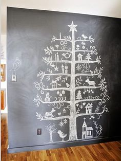 folk art style Christmas tree chalkboard drawing