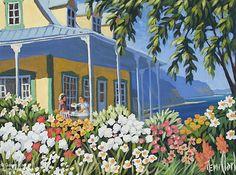 Rémi Clark, 'La maison dans un bouquet', 12'' x 16''   Galerie d'art - Au P'tit Bonheur - Art Gallery Colorful Paintings, Acrylic Paintings, Art Gallery, Clark Art, Cottage Art, Home Art, Street Art, Folk, Artworks