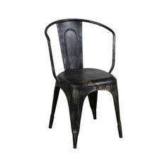 O'Leary Distressed Armchair in Black