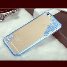 ❗️LAST ONE❗️Rhinestone Blue Flower iPhone Case Price firm do to price drop‼️‼️Bling Diamonds Crystal Rhinestone Clear Hard Case Cover for iPhone 6 6s Color-blue. only one 6 6s Accessories Phone Cases