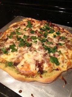 Spicy pork carnitas pizza with habanero salsa. Like California Pizza Kitchen!