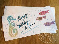 Geburtstag - Geburtstagskarte Seepferdchen handbedruckt - ein Designerstück von silvanillion bei DaWanda