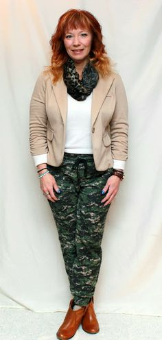 Fashion Fairy Dust camo sweatpants, tan blazer, cream v-neck sweater, leopard print scarf, brown ankle booties