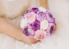 Wedding brooch bouquet, Handmade, Fabric Bridal Bouquet,peonies, purple, pink, ivory