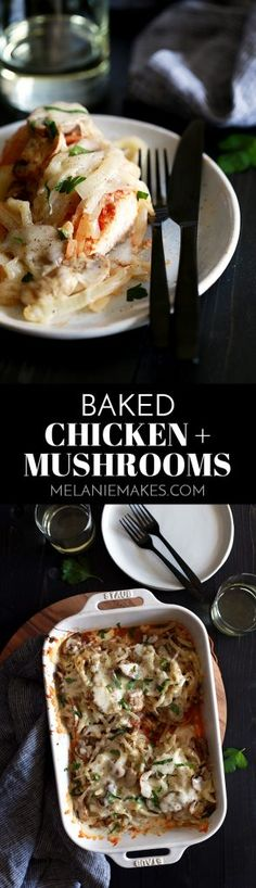 This Baked Chicken and Mushrooms is all about flavor. Layers and layers of flavor. Chicken breasts are sprinkled with smoked Spanish paprika before being piled high with sliced onions and mushrooms. It's all then topped with a melty cap of mozzarella cheese. #baked #chicken #mushrooms #mozzarella #dinner #onions
