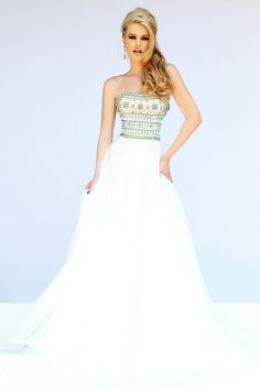 Strapless Bandeau Neckline Formal Prom Gown By Sherri Hill 11175 from Dress Prom. Saved to Sherri Hill Prom Ivory Evening Gowns, Ivory Prom Dresses, White Homecoming Dresses, Sherri Hill Prom Dresses, Prom Dresses 2015, Designer Prom Dresses, A Line Prom Dresses, Prom Dresses Online, Prom 2015