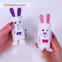 7 Cute Easter Paper Crafts You Will Absolutely Love!: Easter Treat Holders From Cardboard Tubes Bunny Crafts, Easter Crafts For Kids, Crafts For Teens, Crafts To Sell, Diy And Crafts, Paper Roll Crafts, Diy Ostern, Craft Tutorials, Craft Videos