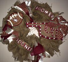 Oklahoma Sooners Burlap/Chevron Wreath!