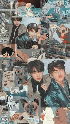 Yoongi and Jungkook Vaporwave Anime, Bts Aesthetic Pictures, Bts Backgrounds, Bts Lockscreen, Kawaii, Kpop Aesthetic, Bts Photo, Bts Boys, Bts Wallpaper