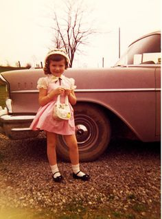 Vintage Chevy and Easter cuteness.  We had a 55'Chevy, I posed one Easter just like this by our Chevy a long, long time ago.
