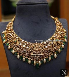 Pachi Work Heavy Necklaces by PMJ - Jewellery Designs Gold Temple Jewellery, Gold Jewelry, Bridal Jewelry, Engagement Jewellery, Gold Necklaces, Jewelry Design Earrings, Gold Jewellery Design, Indian Jewelry Sets, Fashion Jewelry