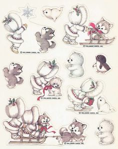 Vintage Hallmark winter animal fun stickers