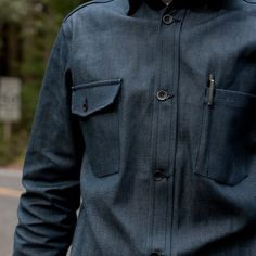 9.5 ounce Nisshinbo Mils denim utility shirt. Made in California.