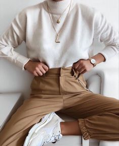 Camel pants + white sweater #ootd #outfits #womensfashion