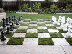 A one-of-a-kind chess board lawn - 12 DIY Inspiring Patio Design Ideas