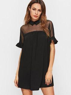 Black Mesh Shoulder Collar Babydoll Dress Cuff(Cm): XS:27cm, S:28cm, M:29cm, L:30cm Fabric: Fabric has no stretch Season: Spring Pattern Type: Plain Sleeve Length: Short Sleeve Color: Black Dresses Le