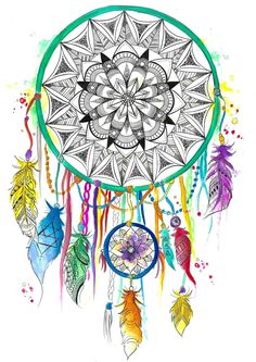 Life changing hand drawn art by the infamous Emily Deechaleune! This High-Def Print design is made with high-quality, spun polyester that delivers the look and feel of organic cotton without ever Feather Tattoo For Men, Feather Tattoos, Mandalas Painting, Mandalas Drawing, Best Sleeve Tattoos, Arm Tattoos, Tatoos, Mandala Design, Mandala Art