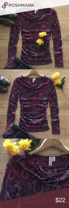 | Anthropologie Sweet Pea Top Beautiful fuchsia and plum print mesh top.  Features ruching on sides for a flattering fit.  100% nylon.  In excellent, gently used condition. Anthropologie Tops
