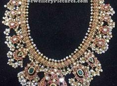 Gutta Pusalu Necklace with Earrings - Jewellery Designs Indian Jewelry Sets, Indian Wedding Jewelry, India Jewelry, Antique Jewelry, Silver Jewelry, Jewelry Patterns, Necklace Designs, Body Jewelry, Necklace Set