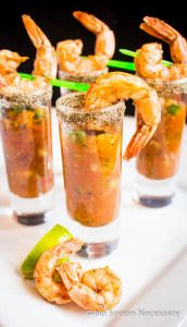 Spicy Bloody Mary Gazpacho & Shrimp Shooters