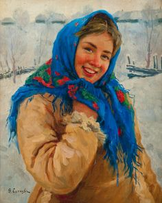 russian Art work image | FEDOT VASILIEVICH SYCHKOV, GIRL WITH A BLUE SCARF. Sign. Oil on canvas ...