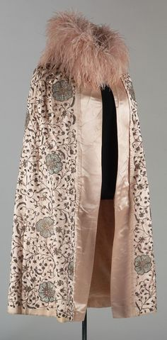 Cloak: ca. 1920's, silk with metallic threads Zardozi embroidery and dyed ostrich feathers.