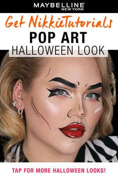 Halloween Eye Makeup, Halloween Looks, Halloween Costumes, Halloween Face, Liquid Liner, Liquid Lipstick, Pop Art Makeup, Makeup Looks For Brown Eyes, Easy Halloween Decorations