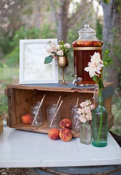 peach-and-gold-wedding-ideas-075 | drink station | drink menu | barrel bar | wedding drinks | M. Felt Photography | Swoon Vintage Rental Co. | Bloomers | Alex O'bering Design