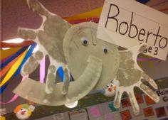 Paper plate handprint elephant