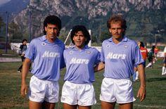 Careca, Maradona e Alemão no Napoli.
