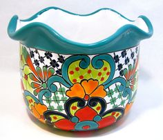 Idea Of Making Plant Pots At Home // Flower Pots From Cement Marbles // Home Decoration Ideas – Top Soop Flower Pot Crafts, Clay Pot Crafts, Painted Clay Pots, Hand Painted Ceramics, Ceramic Painting, Ceramic Art, Ceramic Lantern, Glazed Ceramic, Mexican Interior Design