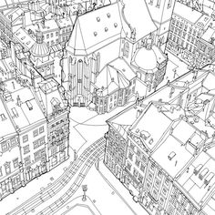 Incredibly Detailed New Architectural Coloring Book Lviv Ukraine Page