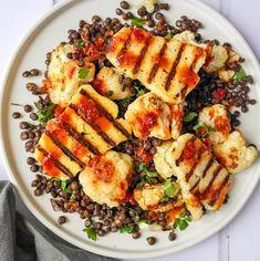 Warm halloumi & lentil salad with harissa & honey dressing