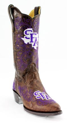 Ladies Stephen F. Austin State University Brass Leather Boots