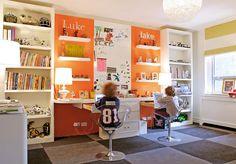new craft room ideas :) I like two kids desk spots for homework...