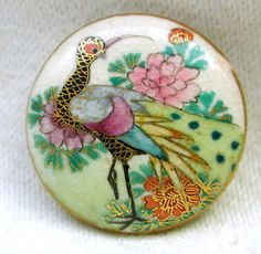 Antique Meiji Satsuma Button Colorful Exotic Bird Pictorial w/ Gold Accents  in Collectibles, Sewing (1930-Now), Buttons, Ceramic | eBay