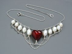 Heart In Chains Art Nouveau Style Necklace With Garnet Red Murano Heart And Large Freshwater Pearls Mounted in Sterling Silver by MermaidsPurseJewels on Etsy