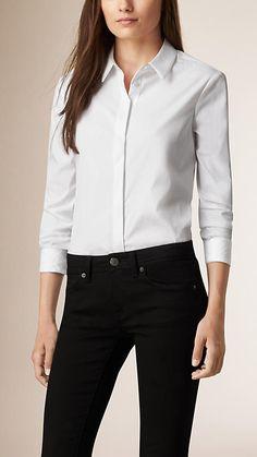 Blanc Chemise en coton extensible avec éléments check ton sur ton - Image 1