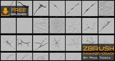 73 Damage/Crack Brushes For ZBRUSH  By Paul Tosca  High quality brushes for destruction sculpting in Zbrush. You can download free . Polycount LINK - http://polycount.com/discussion/152882/damaged-marble-pillars-including-resources-zbrushes-ztools-ingame-models-textures