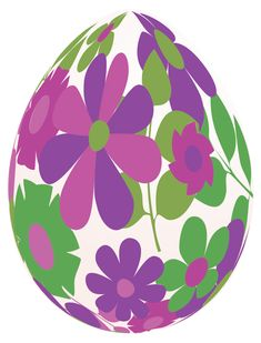 Easter White Egg with Purple Flowers PNG Clipart Picture
