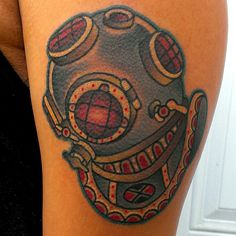 tattoo old school / traditional nautic ink - helmet dive mask...appealing to the scuba diver in me.