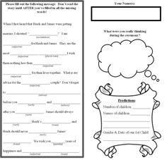 Guesbook Pages :  wedding diy guestbook madlibs reception Guestbook Page 1