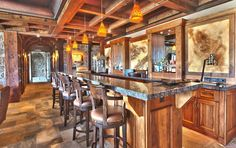 This gallery features luxury custom home bars design ideas and pictures. Find the perfect home bar for you from one of these amazing interior designs. Custom Home Bars, Bars For Home, Custom Homes, Stone Mansion, Home Bar Designs, Million Dollar Homes, Mansions For Sale, Wood Stone, House In The Woods