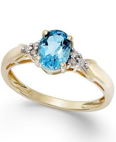 Blue Topaz (3/4 ct. t.w.) and Diamond Accent Ring in 10k Gold