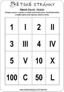 Pexeso - římské číslice
