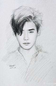 portrait - Famous Last Words Girl Drawing Sketches, Art Drawings Sketches Simple, Pencil Art Drawings, W Two Worlds Art, Lee Jong Suk Wallpaper, Sketch Style, Kang Chul, Exo Fan Art, Kpop Drawings