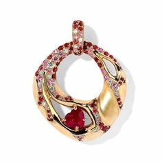 "Pendant ""Heart Beat"", in gold with ruby, diamonds and sapphire by Mousson Atelier"